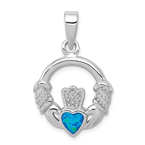 925 Sterling Silver Blue Inlay Created Opal Irish Claddagh Celtic Knot Pendant Charm Necklace Fine Jewelry For Women Gifts For Her