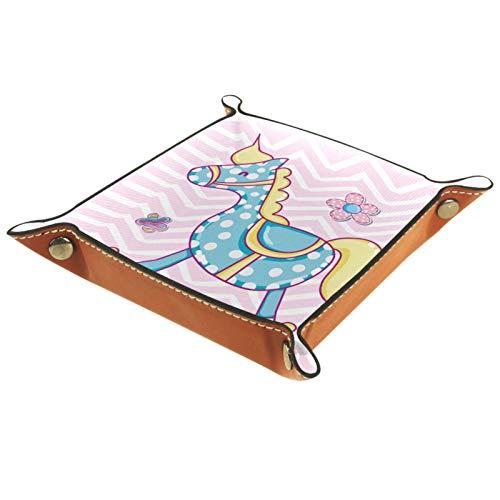 MUMIMI Caja de almacenamiento de joyería para anillos, pendientes, joyería y anillos, diseño de caballo de madera