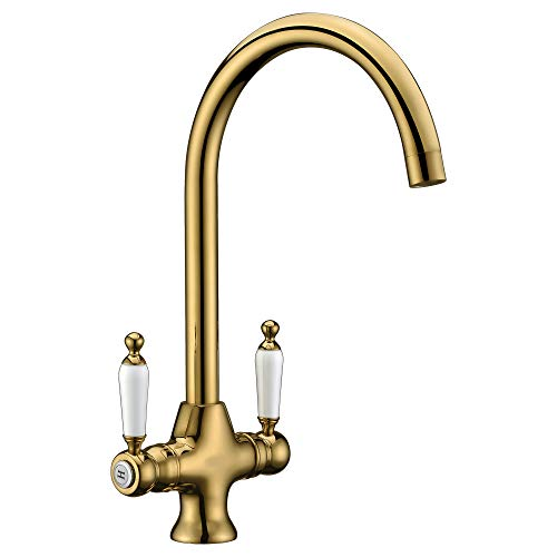 Delle Rosa Upgrade Gold Traditional Kitchen Sink Mixer Tap Elegant Ceramic Dual Lever Monobloc Swivel Spout