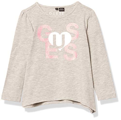 GUESS Girls' Little Long Sleeve Handkerchief Hem Graphic Logo T-Shirt, Light Heather Grey Medium, 6X/7