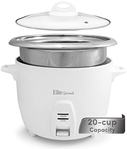 Elite Gourmet ERC-2020 Electric Rice Cooker with Stainless Steel Inner Pot Makes Soups, Stews, Grains, Cereals, Keep Warm Feature, 20 Cup, White