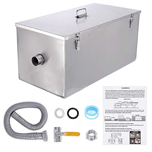 BEAMNOVA Commercial Grease Trap 25lbs Stainless Steel Interceptor, Side Inlet