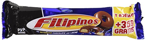 Filipinos - Galletas bañadas con chocolate con leche - - 100 g - , Pack de 6