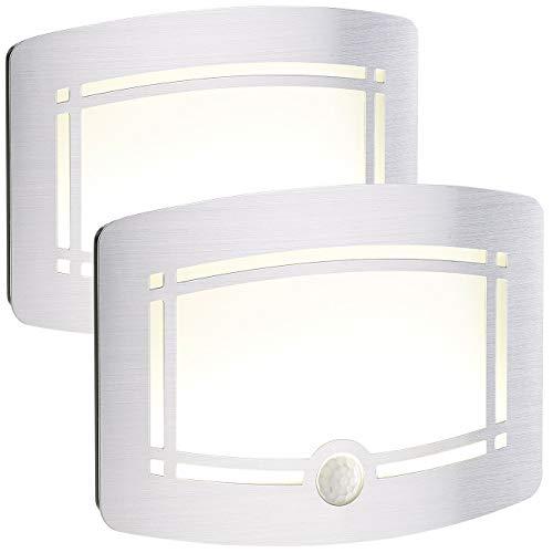 Lunartec Lampen Batterie: 2er-Set 2-stufige Batterie-LED-Wandleuchten, Bewegungs-/Lichtsensor (Wandlampe mit Bewegungsmelder)