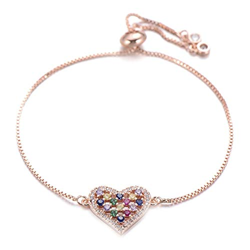 FUKAI Rainbow Cubic Zirconia Heart Bracelet Female Slider Chain Charm Bride Wedding Bracelet Female Couple Jewelry Gift (Color : Rose gold)