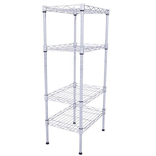 exilot 5 Tier Bathroom Storage Shelf, Free-Standing Metal Corner Rack, Narrow Shelving Unit Organizer, Multifunctional Storage Rack for Kitchen Garage Pantry (Black)