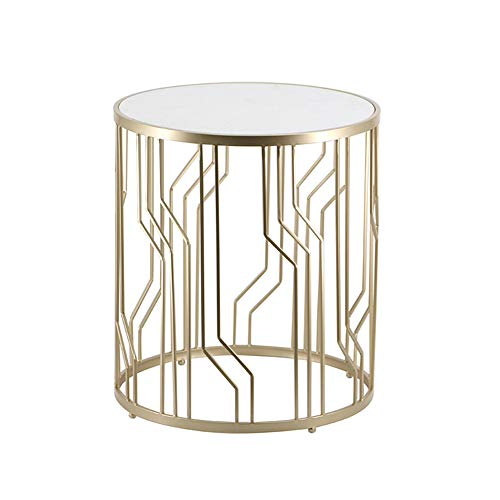QULONG Nordic Sofa Side Round Simple Simple Tables for Bedroom/Living Room/Patio Marble Countertops Side Accent Tables,Gold,champagne
