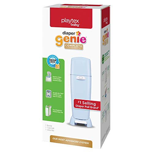 Playtex Diaper Genie Complete Pail with Built-In Odor Controlling Antimicrobial, Includes Pail & 1 Refill, Blue