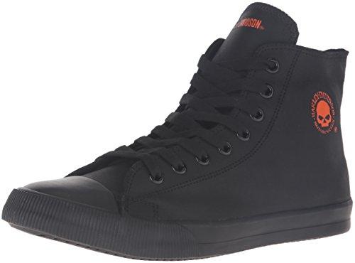 HARLEY-DAVIDSON FOOTWEAR mens Baxter Skateboarding Shoe, Black/Orange, 9.5 US