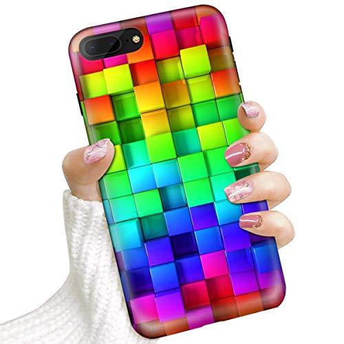 Voor iPhone 8 Plus, iPhone 7 Plus, Beschermende Kunst Ontwerp Soft Back Case Telefoonhoesje, IMD IMD0002 Regenboog Vierkant Patroon 0002