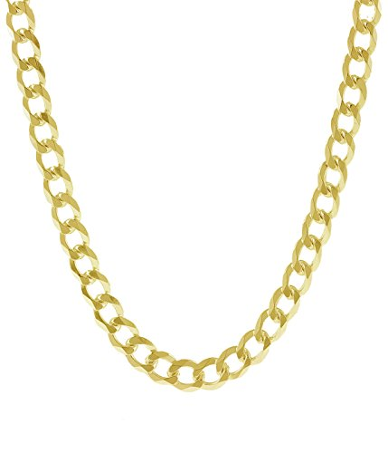 18K Solid Gold 1.8MM, 2.5MM, 3MM, 3.8MM, 4.5MM, 5.5MM, 7MM Cuban Curb Link Chain Necklace- Made In I