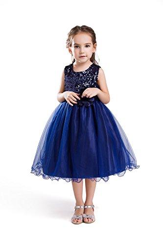 ELSA & ANNA® Top Qualität Mädchen Prinzessin Kleid Hochzeitskleid Verrücktes Kleid Brautjungfer Kleid Weihnachtsfest Kleid Partei Kostüm Outfit DE-BLU-PDS01 (3-4 Jahre, PDBLU01)