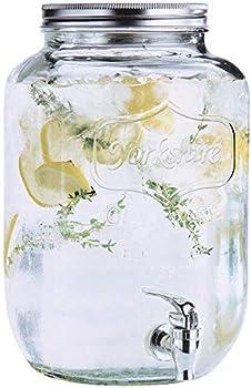 Estilo 2 gallon Glass Single Mason Jar Beverage Drink Dispenser With Leak Free Spigot Clear