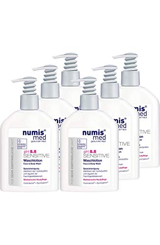 numis med Waschlotion ph 5.5 SENSITIVE - Körperlotion Spender vegan & seifenfrei - Lotion für sensible, feuchtigkeitsarme & zu Allergien neigende Haut - Gesichtspflege im 6er Pack (6x 200 ml)
