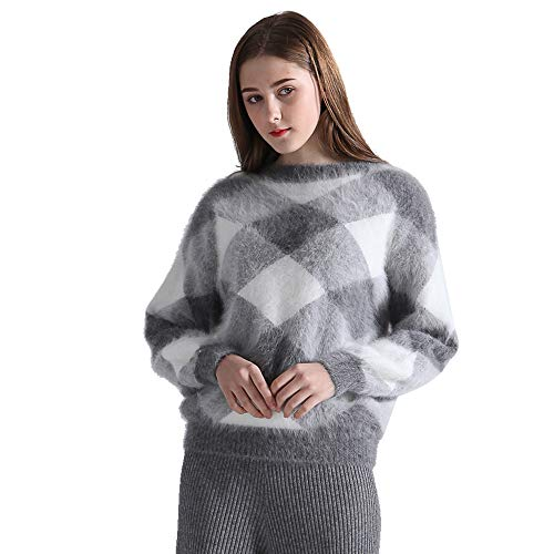 Bahtlee Frauen Angora - Strickwaren Pullover Lange Batwing - ärmel o-Neck locker geometrische Muster
