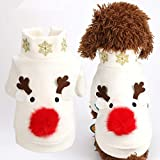 POPETPOP Costumi Natalizi per Cani Modello Alce Animali Inverno Vestiti Caldi Cappotti per Cani Giacca per Cani Abbigliamento Abiti per Feste per Piccoli Cani di Taglia Grande