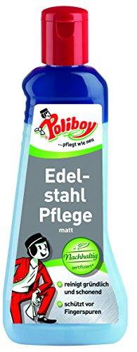 Poliboy - Edelstahl Pflege matt - reinigt gründlich und schonend für Aluminium oder Edelstahl - Einzeln - 200 ml - Made in Germany