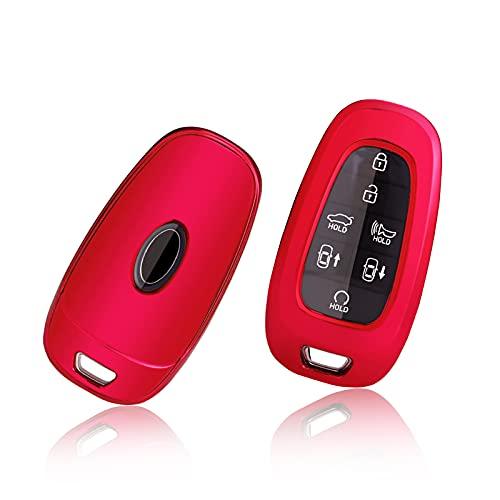 GAFAT Carcasa para llave de coche Hyundai Tucson NX4 / Ioniq 5 / Nexo/Sante Fe 2021, funda protectora para llave de coche de gel de sílice TPU (rojo)