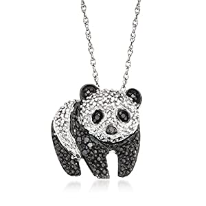 Ross-Simons 0.10 ct. t.w. Black and White Diamond Panda Pendant Necklace in Sterling Silver