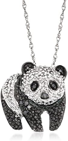 Ross Simons 0 10 ct t w Black and White Diamond Panda Pendant Necklace in Sterling Silver 18 product image