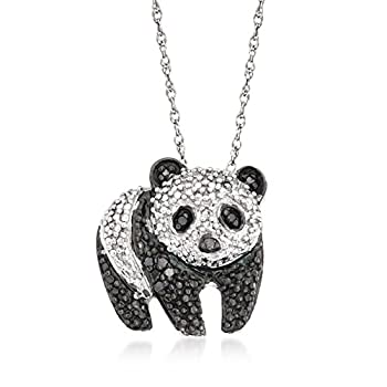 Ross-Simons 0.10 ct t.w Black and White Diamond Panda Pendant Necklace in Sterling Silver 18 inches