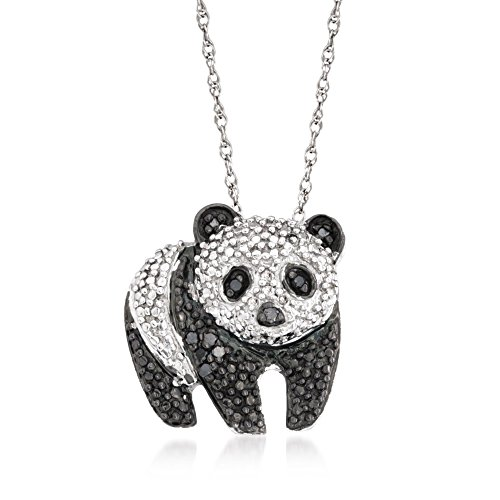 Ross-Simons 0.10 ct. t.w. Black and White Diamond Panda Pendant Necklace in Sterling Silver. 18 inches