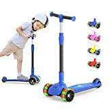 MEGAWHEELS 3-Wheeled Scooter for Kids, PU Wheel with LED Lights, Adjustable Lean-to-Steer Handlebar, Ride with Brake for Toddlers Boys & Girls Ages 2-12 Years Old Color Blue
