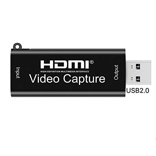 SUMPIGGER Tarjeta de captura de audio y vídeo 4K a través de DSLR portátil HDMI a USB 2.0 3.0 dispositivo de captura de vídeo, 1080P HD Broadcast Live y Grabber de audio de vídeo
