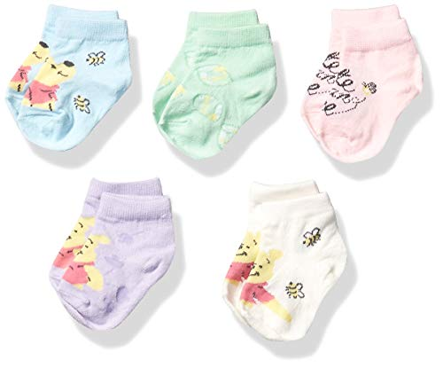 Winnie the Pooh Baby 5 Pack Shorty Socks, Assorted Pastel, 12-24 Months