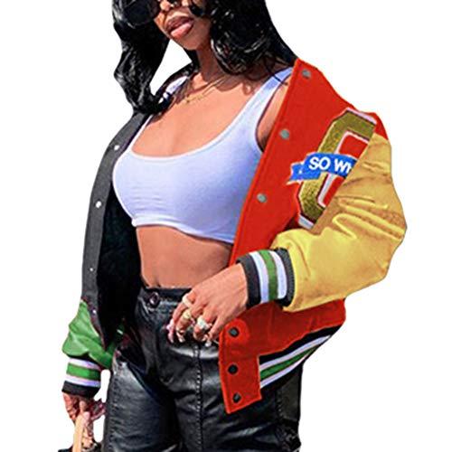 Shownicer Bomberjacke Damen Sweatjacke Frauen College Sweat Jacket Reißverschluss Oversized Patchwork Jacke Vintage Druck Jacken Baseball Mantel Rot XS
