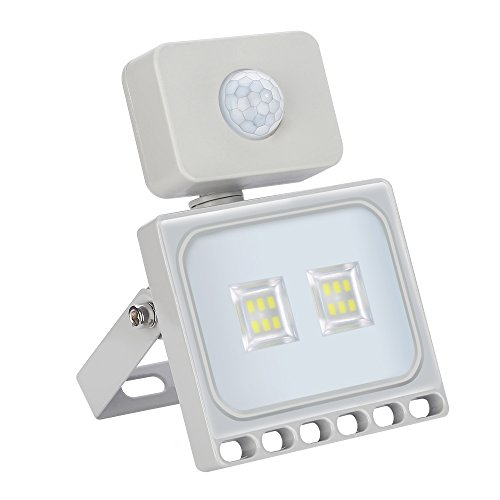 10W 800LM Foco LED con Sensor Movimiento, Super Brillante Ultrafino Proyector LED 6000K Focos Exterior, Impermeable IP66 Iluminación de Exterior y Seguridad para Patio, Jardín