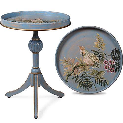 Home&Selected Furniture salontafel van massief hout, rond, handgemaakt, voor tafel, lamp, koffie, nachtkastje, voor woonkamer, slaapkamer, balkon, 18,5 x 24,8 inch (kleur: A)