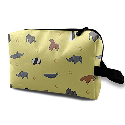Origami Animal Pattern Small Travel Toiletry Bag Super Light Toiletry Organizer for Overnight Trip Bag