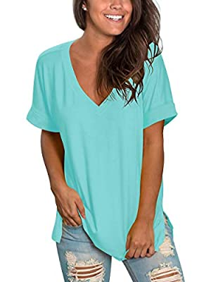 Womens Shirts Summer Casual Tops Blouses Plus Size Side Split Lake Green XXL