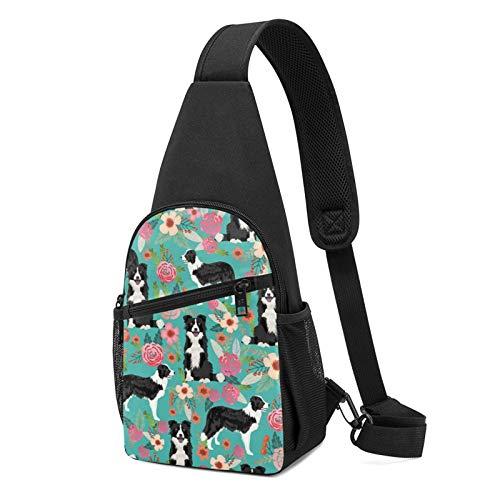 Sling Rucksack Border Collie Florals Sling Bag Crossbody Schultertasche Reise Wandern Brusttasche Daypack, Schwarz , Einheitsgröße,
