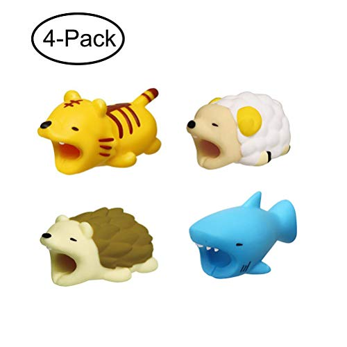 Cable Bite Animals Compatible for Phone Cable, Charge Cable Saver and Fixer Charging Cable Saver Chewers Cute Animal Bites Cable Accessory Pack (4 pcs)
