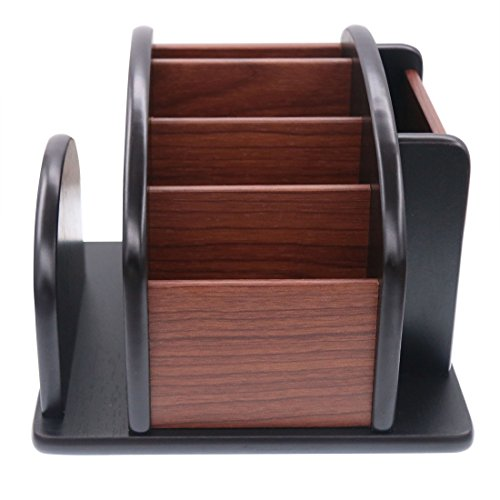 Coideal Wooden Large Spinning Remote Controls Holder Caddy for Table, Rotating Office Supplies Desk Storage Organizer/Revolving Wood Pen Pencil Holder (6 Compartments, Brown & Black)