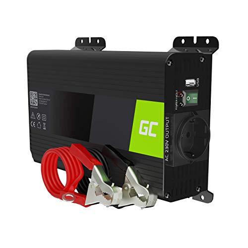 Green Cell PRO 300W 600W 12V 220V 230V Onda Pura Inverter Invertitore di Tensione Fotovoltaicoper Camper Auto Convertitore di Potenza, Trasformatore sinusoidale Pura USB