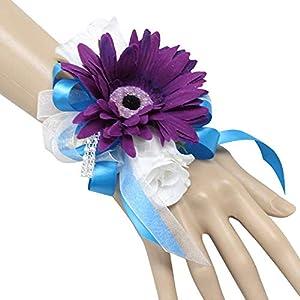 Silk Flower Arrangements Angel Isabella, LLC Build Your Wedding Package - Malibu Turquoise, Purple, White Rose and Daisy Keepsake Artificial Flowers Bouquet Corsage Boutonnieres (Wrist Corsage)