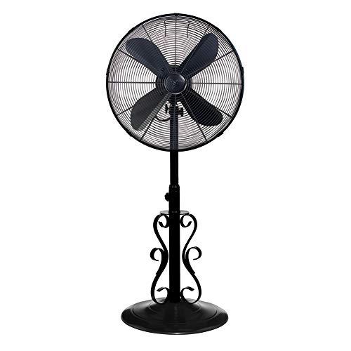 DecoBREEZE Adjustable Height Oscillating Outdoor Pedestal Fan, 18 In, Ebony