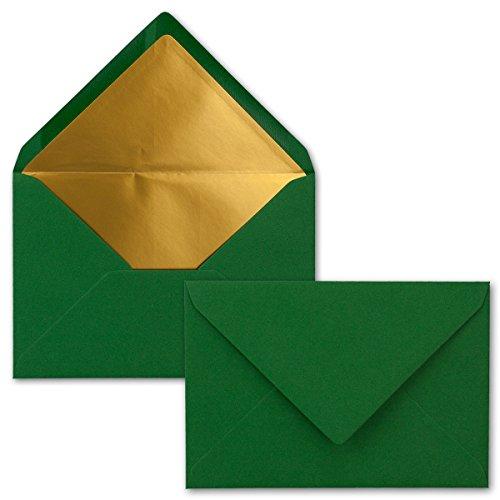 Kuverts Dunkelgrün - 75 Stück - Brief-Umschläge DIN C6-114 x 162 mm - 11,4 x 16,2 cm - Naßklebung - Matte Oberfläche & Gold-Metallic Fütterung - ohne Fenster - für Einladungen