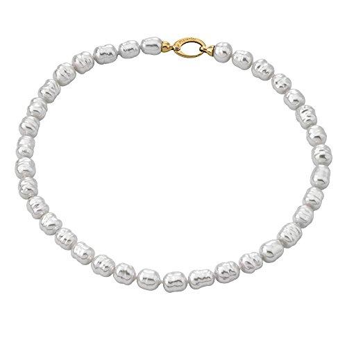 Majorica - Collar Corto de 45 cm, 8 mm Perlas Blancas barrocas