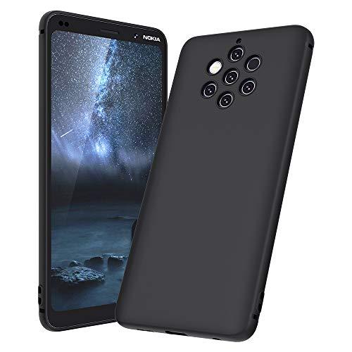 Beetop Nokia 9 Pureview Hülle Schutzhülle Ultradünn Handyhülle Weiche Silikon TPU Rückschale Case Cover für Nokia 9 Pureview - Matt Schwarz