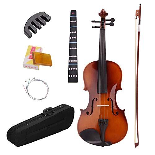 Cimoto 4/4 Volle Gr? ?E violín acústico natural con casco, arco de colofonia, pegatinas, cuerdas