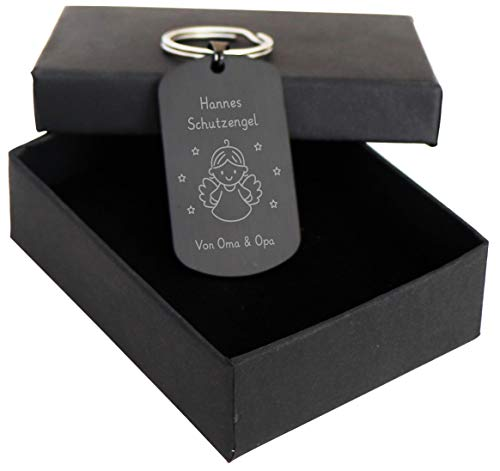 LAUBLUST Schutz-Engel Schlüsselanhänger mit Gravur | Personalisiertes Geschenk | Schwarz, inkl. Geschenkbox