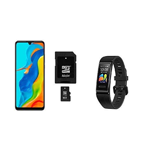 HUAWEI P30 lite New Edition Smartphone Bundle (15.6cm (6.15 Zoll) 256GB int Speicher, 6GB RAM, Dual SIM, Android, EMUI 9.0.1) Midnight Black + 16GB SD Karte [Exklusiv bei Amazon] + Band 4 Pro