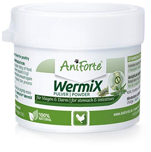 AniForte WermiX Pulver für Hühner, Gänse, Enten und Großvögel 20g - Naturprodukt vor, während und nach Wurmbefall mit Saponine, Bitterstoffe, Gerbstoffe, Wermut, Naturkräuter harmonisieren Magen & Darm