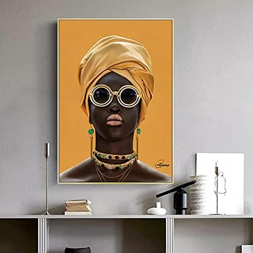 Mujer Negra con Gafas de Sol Pintura al óleo en la Pared decoración Moderna Lienzo Cuadros artísticos de Pared Cartel de Mujer Africana Amarilla 20x28inch