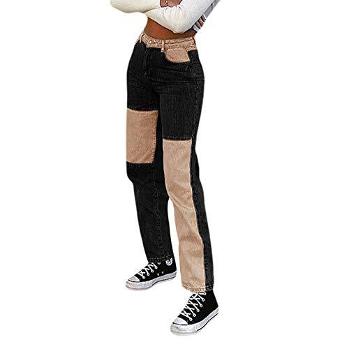 L&ieserram Damen Patchwork Jeans High Waist Stretch Cutoffs Distressed Straight Leg Denim Jeans Hose 70er Vintage E-Girl Style Y4K Schlagjeans Hose (B Schwarz, M)