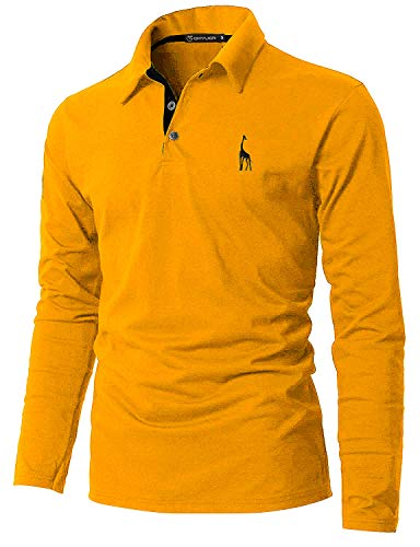 GHYUGR Polo Manga Larga Hombre Algodón Negocios Elegante Bordado de Ciervo Golf Tennis Otoño Invierno Poloshirt Camisas,Amarillo,XL